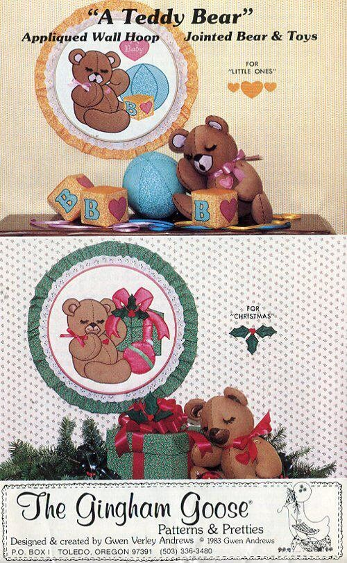 Free Us Ship Sewing Pattern Gingham Goose Teddy Bear Embroidery ...