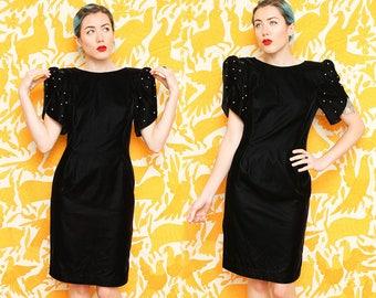 Black Velvet Dress // Puffy Sleeve Mini Dress // 1980s Afterdark Pearl Detail Short Sleeve V Cut Back Formal