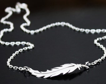 Feather necklace, Sterling Silver Feather Pendant, Sideways feather necklace, layered necklace, handmade unique feather design