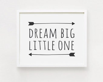 10x8 36x24 Inch Dream Big Little Man Printable Landscape Quotes Poster Black And White Simple Word Cute Nursery Wall Art INSTANT DOWNLOAD
