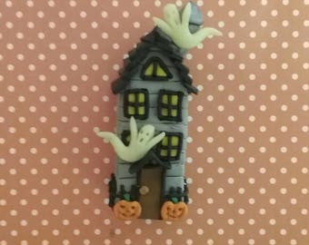Hand Sculpted Halloween Haunted House Figurine in Polymer Clay