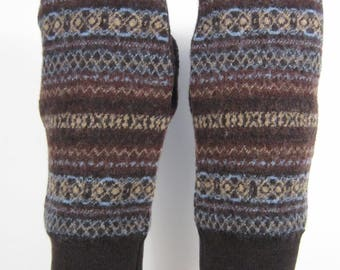 Brown Merino Wool Sweater Mittens