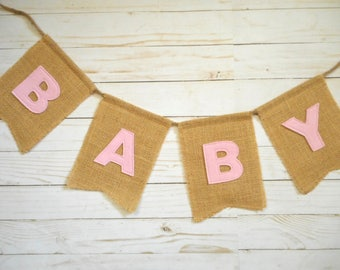 Baby Girl Shower Banner, Custom Burlap Sign, Party Decor, Rustic Decorations, Pink, Pregnancy Announcement