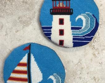 Needlepoint Ornament Set - Seashore - Lighthouse - Sailboat - Aqua - Navy