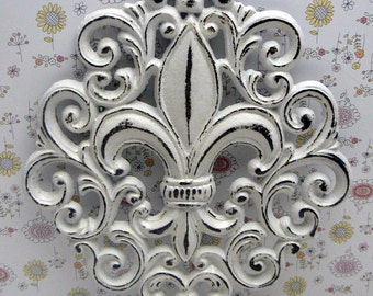 Fleur de lis Ornate Decorative Cast Iron Wall Art Classic White Distressed FDL Wall Decor French Decor Paris Shabby Elegance