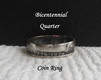 Bicentennial Quarter HANDMADE Coin Ring Special Year? Birthday/Anniversary