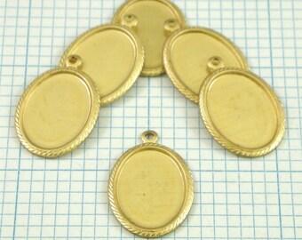 6 18x13mm Brass Bezel Settings - Rope