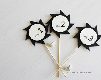 5+ origami wedding table numbers || pinwheel table numbers || | black white table signs -number # 1-10