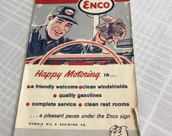 Vintage Los Angeles  street map 1960s enco gas station collect scrapbook history