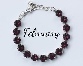 February Birthstone Bracelet - 8mm Purple Amethyst Swarovski Crystal Bracelet