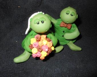 Turtle Cake Topper Turtle Wedding Turtle Bride and Groom Turtles in Love Just Married Turtles Turtle Personalized Custom Handmade Keepsake