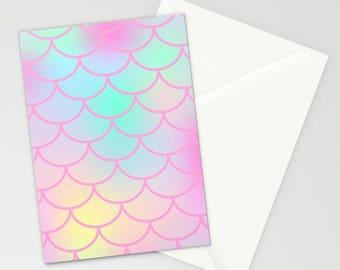 Pink Watercolor Mermaid Stationary, Blank Stationary Stationary Set, Mermaid Thank You Cards, Mermaid Invites, Blank Mermaid Card, Pink Card