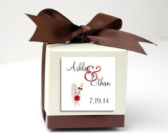 100 Baseball Wedding Favor Stickers. Personalized printed square labels are 2 inches by 2 inches.