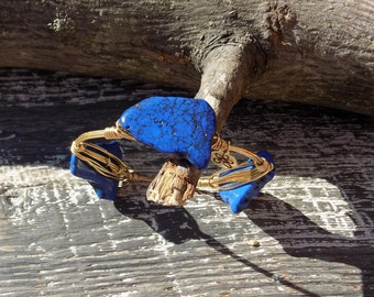 Bourbon and Boweties Inspired Magnesite Bangle.  Blue Slab Beaded Wire Wrapped Bracelet(s).