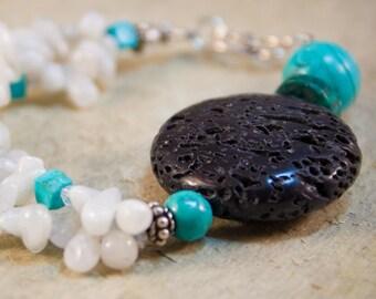 Lava Tribal bracelet turquoise moonstone sterling handmade OOAK artisan milky pale bright black chunky statement asymetrical