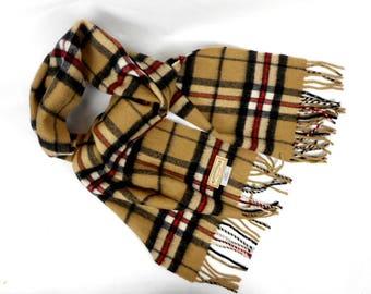 James Pringle Weavers Tartan Plaid Wool Scarf Beige Black