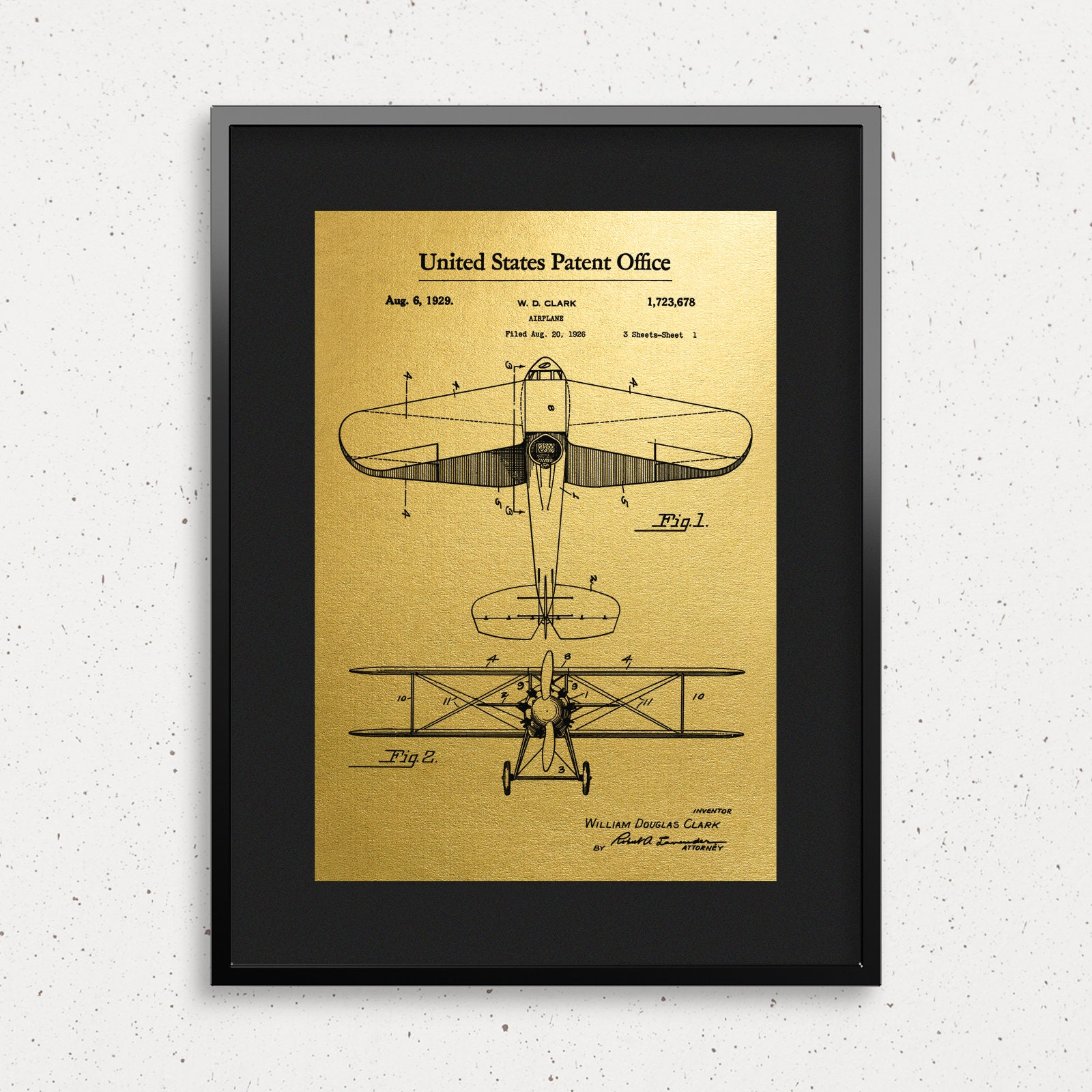 Vintage Airplane Gold Foil Patent Prints up to