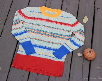 SALE 1970s vintage Sears primary colors lightweight knit sweater SIZE S/M