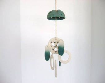Wind chime, dome wind chime, ceramic wind chime, green and brown