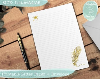 Printable writing paper Printable letter paper Printable envelope Printable stationary Instant download Letter paper with gold feather