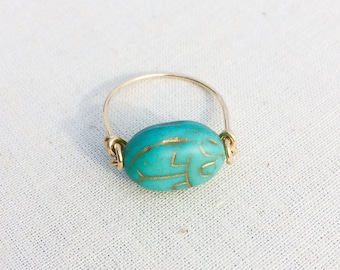 Scarab & 14k gold filled ring, Made in Hawaii, *Free shipping*