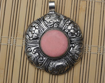 SALE!!!    Hand-made Nepali pendant, Silver plated with Pink Howlite