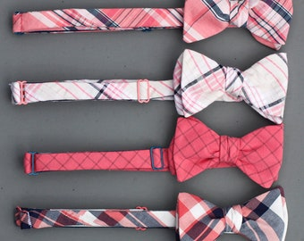coral and navy bow tie wedding mix and match set  // self tie plaid bow ties // groomsmen bow ties in magenta & blue