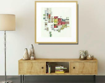 Mid Century Modern, Framed Art, Abstract Art Print, Geometric Wall Art, Framed Modern Art, Mid Century Print, Geometric Art Print