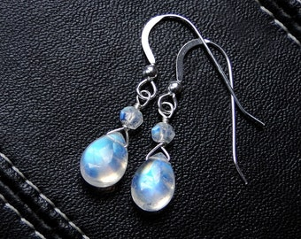 Moondrops Rainbow Moonstone Earrings on Sterling Silver--Luxe Collection on Etsy, CircesHouse