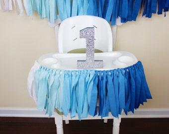 Blue Ombre Garland, 1st Birthday Boy, Highchair banner, Highchair Garland, Boy Birthday, Nursery Decor, Photo Prop, Mr Onederful banner