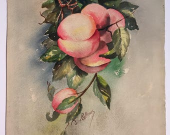 """Vintage signed original watercolor """"Peaches"""" by Jane Bellows"""