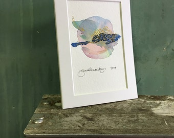 spins / original watercolor / one of a kind painting