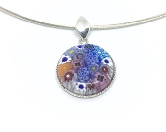 Gorgeous 925/1000 silver omega necklace spirit Murano Millefiori blue and red.