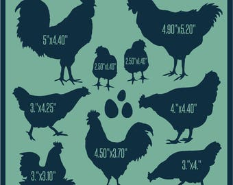 Primitive Stencil Roosters and Chickens in Different Sizes 12x12
