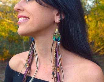 HIPPIE VIBE Long Feather Leather Fringe Earrings SALE