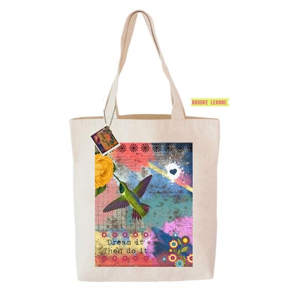Hummingbird Tote Bag  - Reusable Grocery Shopping Bag - Farmer's Market Bag - Cotton Eco Tote Bag - Book Bag - Free Shipping