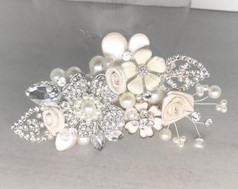 Bridal Hair Accessory- Bridal Hair Comb-  Wedding Hairpiece- Rhinestone Wedding Comb- Floral Bridal Comb- Wedding Hair Accessories- Made USA