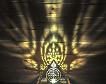 Pyramid Sri Yantra Natural Table Lamp. Wooden Lamp. Desktop lamp. Bedside Lamp. Pyramid Lamp. Modern lighting. Desktop Lamp