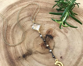 New! Pyrite Moon Lariat Necklace