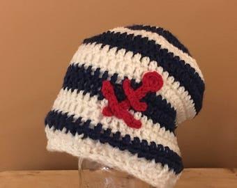 Striped anchor slouch hat