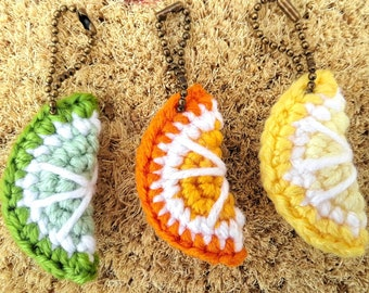Crochet Keychain - Set of 3 - Summer Fruit Amigurumi