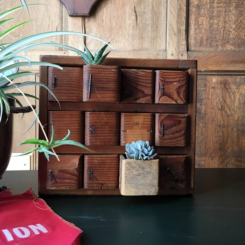 Antique Parts Cabinet Handmade Cubby Desktop Organization