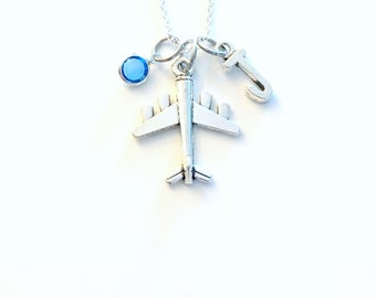 Air Plane Necklace, Airplane Jewelry Gift for Stewardess, Aeroplane Pilot Present, Mission Trip Travel Agent Fly Charm initial birthstone