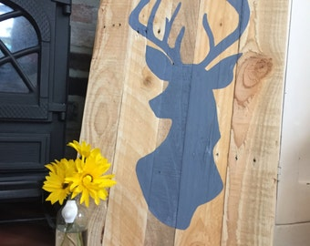 Pallet Art - Wooden Canvas - Hand Painted - Stag