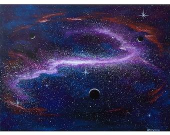 Space Nebula Acrylic Painting