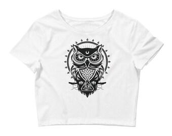 Owl Print Crop top, Owl t-shirt, Owl crop tee, Black and white t-shirt, Owl t-shirt