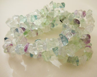 Flourite Gemstone Beads, Chips, Purple, Green