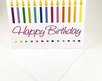 18 Colorful Candles Birthday Cards - Blank Gift Birthday Cards - Boxed Set - 14307
