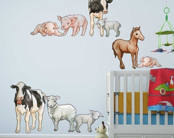 Illustrated Farm Animals Wall Decal Kit - Pig and Sheep Wall Decal by Chromantics