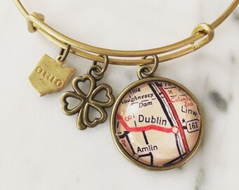 Dublin Ohio Map Charm Bracelet - Personalized Map Jewelry - Hometown Love - Midwest - Columbus